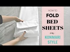 How to fold bed linens in the KonMari Method style. Linens include: Flat sheet, Fitted sheet and pillowcase. 👇🏻Grab your free KonMari Vision Guide before sta. How To Fold Sheets, Fold Bed Sheets, Folding Fitted Sheets, Konmari Method Folding, Comforter Storage, Bedding, Linen Closet Organization, Life Organization, Ideas Para Organizar