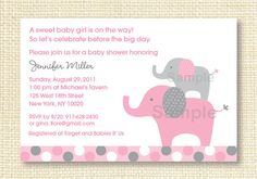 Mod Elephant Pink Grey Printable Baby Shower Invitation. $10.00, via Etsy.