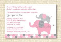 Mod Elephant Pink Grey Printable Baby Shower Invitation. $10.00, via Etsy.