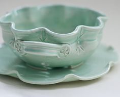 Floral Berry Bowl  Colander  Small  Green by vesselsandwares
