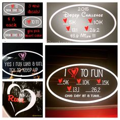 Custom running decals make a great gift for your favorite runner or yourself! You pick color hearts, distances, and copy for bottom line. Other styles available. Quantity discounts available for running groups! #running #runningdecal #customrunningdecal #holidays #gifts #bling