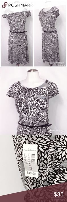 🆕 NWT Dress Barn Black & White Floral Dress Awesome dress from Dress Barn! Black and white pattern with flower design and detachable belt.  New condition! Tags are still attached from the store. This is a size 14 Dress Barn black and white floral pattern dress with cap sleeves. Dress Barn Dresses Midi