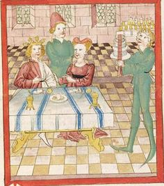 """""""""""CodGerm345.6vLohengrin.Str31-251.22v.jpg (500×567)""""""""  Table setting, manner and method that the servant is bringing (presumably) the food to the table in small boxes."""