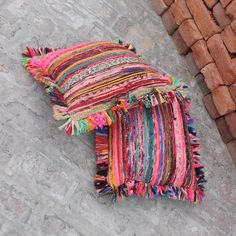 Bohemian Pillow cover, boho Rustic Pillow, Hand woven Chindi Rug Pillow, Recycled rag Rug Indian Sari Pillow, Vintage Pillow with fringes
