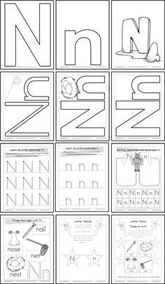 Alphabet Letter N Worksheet | Standard Block Font | Preschool ...