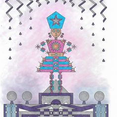 Hi everyone. I've been away taking care of my Mom but I am back again ready to share. This is from Nola Hintzel coloring book Robot Fashion Show: A Geometrical Coloring Book Experience done with sharpies Crayola pencils and eye shadow