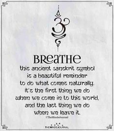 Breathe This ancient Sanskrit symbolis a beautiful reminder to do what comes naturally. It's the first thing we do when we come Breathe This ancient Sanskrit symbolis a beautiful reminder to do what comes naturally. It's the first thing we do when we come Sanskrit Tattoo, Sanskrit Quotes, Sanskrit Words, Wörter Tattoos, Body Art Tattoos, Tatoos, Yoga Tattoos, Symbols Tattoos, Script Tattoos