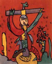 Gaston Chaissac  Personnage crucifié, gouache  sur papier, 25,5 x 21 cm,  vers 1948  Lausanne, collection  de l'Art Brut (collection  Neuve Invention)