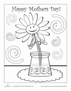 Mother's Day Preschool Holiday Worksheets: Happy Mother's Day Coloring Page Happy Children's Day, Happy Mother S Day, Mothers Day Flowers, Mothers Day Crafts, Cool Coloring Pages, Coloring Books, Colouring Sheets, Mothers Day Coloring Sheets, Mother's Day Printables