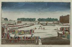 Vista em perspectiva da Praça Luis XV. Vista ótica publicada por Chéreau, em 1763.  Encontra-se na Biblioteca Digitalizada Gallica / Biblioteca Nacional da França.