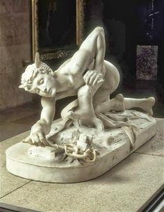 Jean-Antoine Idrac (1849 - 1884. France). Mercure inventant le caducée. Marbre, 1878. Musée d'Orsay