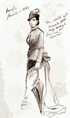 """teamramses: """"""""An unfinished sketch of Amelia Peabody, submitted by Evelyn Barton-Forbes in the year before they embarked for Egypt. Elizabeth Peters, Amelia Peabody, Emerson, Mystery Crafts, Egypt, Illuminated Manuscript, Art Journals, Crocodile, Authors"""