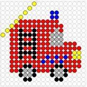 Deze kralenplank en vele andere in het thema brandweer kun je vinden op de website van Juf Milou. Fuse Beads, Perler Beads, Beading Patterns, Melting Beads, C2c, How To Make Beads, Firefighter, Pixel Art, Toys