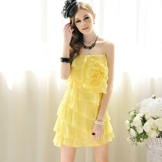 $39.2 2013 summer clothing new large yellow flowers of flounced chiffon sling dress -ZZKKO