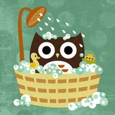 Owl in Bathtub by Nancy Lee-kids bath