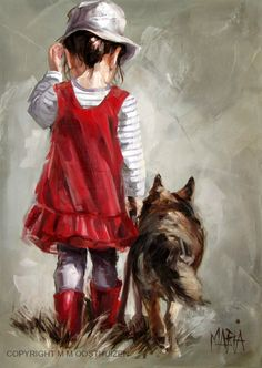 Girl and her dog by Maria
