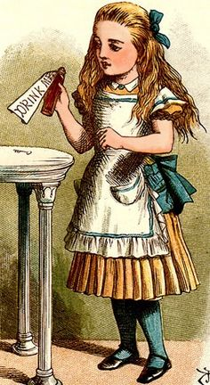 """Drink Me."" by John Tenniel (1820 - 1914) - the original illustrator of Lewis Carroll's Alice."