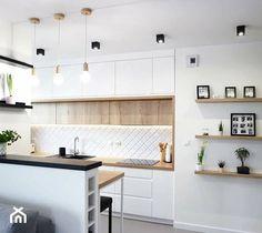 Przytulny, nowoczesny salon z kuchnią.