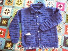 Das Mãos da Teresinha: Casaco de tricô para criança - tam. 4 - 5 anos