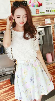 Women's Elegant White O-Neck Floral Lace Above Knee Sleeveless A-Line Dress