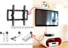 Casa Montada: Tv na Parede com Fios Escondidos Tv Escondida, Wall Mounted Tv, Box Tv, Tvs, Family Room, Sweet Home, Bedroom Decor, New Homes, Interior Design