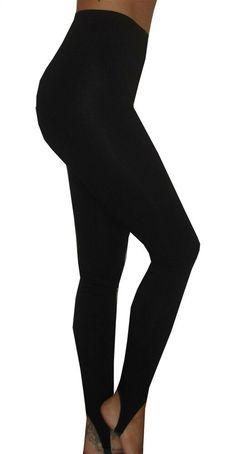 3ca9ad13e WOMENS LADIES BLACK FULL LENGTH HIGH WAIST RISE STIRRUP LEGGINGS UK SIZE 28  PLUS  fashion