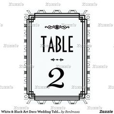 White & Black Art Deco Wedding Table Numbers