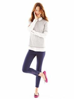 GAP Striped half-sleeve sweater, boyfriend shirt, 1969 ankle zip legging jeans, & leather ballet flats