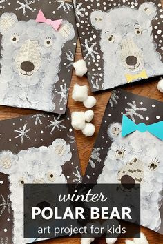 Painting without paint brushes winter craft for kids. Use creative materials to paint polar bears at night in this polar bear art project for kids. Winter theme, arctic theme, hibernation theme ideas. Fall Art Projects, Projects For Kids, Class Projects, Painting For Kids, Art For Kids, Penguins And Polar Bears, Winter Crafts For Kids, Winter Ideas, Spider Art