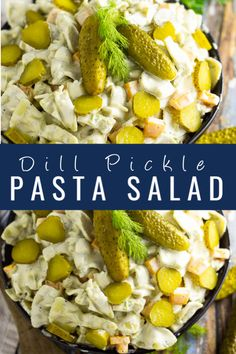 Creamy, cool Dill Pickle Pasta Salad with crunchy bites and salty-sour dill pickles is a delicious bite for potlucks, picnics, and grilling! Side Dishes Easy, Side Dish Recipes, Lunch Recipes, Summer Recipes, Dinner Recipes, Healthy Pasta Salad, Pasta Salad Recipes, Southern Food, Southern Recipes