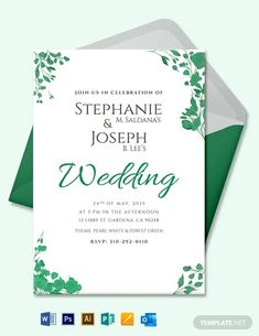 Wedding Flower Invitation Card Template