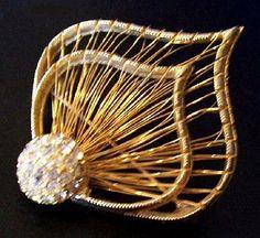 Vintage Rhinestone Brooch Pin Gold Plated by BrightgemsTreasures, $24.50