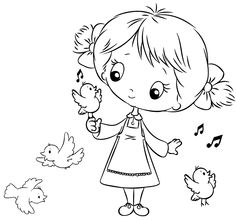 A Little Bird Coloring Pages For Girls, Coloring For Kids, Colouring Pages, Coloring Books, Hand Embroidery Patterns Free, Hand Embroidery Art, Digital Stamps Free, Baby Girl Drawing, Kids Stamps