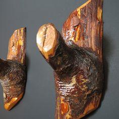 Wall hooks - Wall Decor Pair Wood Hooks - Coat hooks - Wooden rustic home decor - Decorative wall hooks - Organizer branch hanger