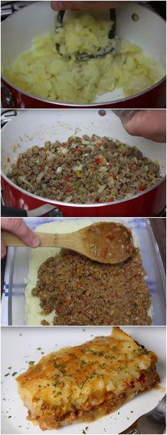 Escondidinho de carne moída com batata,todo mundo gosta e a gente sempre tem os ingredientes em casa #escondidinhodecarne #carnebovina