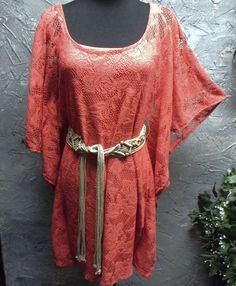 B Smart - Bright Coral Lace Bohemian/Hippie - Dress/Tunic with Belt #BSmart #DressTunic
