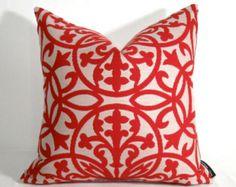 Red Pillow Cover - Outdoor Indoor - Decorative Trellis - Samba - Crimson Sunbrella - Maldives