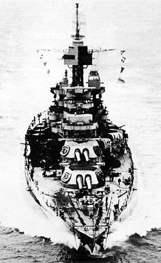16 in Colorado class battleship USS Maryland, 1944.  Only lightly damaged at Pearl Harbor, she was swiftly back in service: thus she was never as extensively modernised as many of her compatriots.  She served throughout the Pacific campaign, sustaining kamikaze strikes at Leyte Gulf in 1944 and Okinawa in 1945.