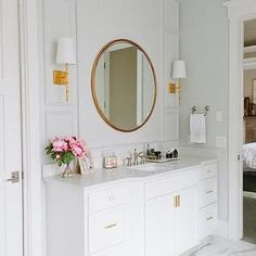 Worlds Away Molly Gold Leafed Wall Sconce, Transitional, Bathroom, Benjamin Moore Wickham Gray
