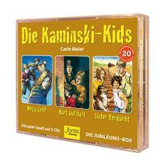 Die Jubiläums-Hörspiel-Box zum 20. Jubiläum der Kaminski-Kids enthält 3 CDs mit: «Mega Zoff!» (74 Minuten), «Hart auf hart» (59 Minuten), «Unter Verdacht» (62 Minuten). Alle Hörbücher und Bücher von Carlo Meier findest du im fontis-shop.ch Meier, Box, Kids, Movie, Gods Not Dead, Senior Boys, Light In The Dark, Young Children