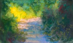 """Rita Kirkman's Daily Paintings - """"Park Trail #17""""  pastel over watercolor, 3x5 inches"""