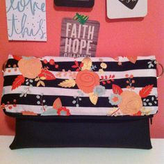 Flowers and stripes ready to ship by VintageAutumn on Etsy fold over clutch