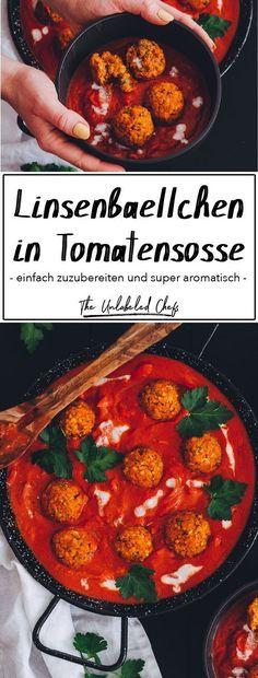 Linsenbällchen in Tomatensoße - The Unlabeled Chefs - Diese Linsenbällchen müsst ihr probieren. Chef Recipes, Pizza Recipes, Easy Dinner Recipes, Vegetarian Recipes, Easy Meals, Healthy Recipes, Lentil Recipes, Keto Recipes, Snacks Recipes