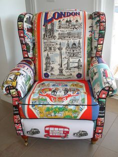 ~ tea towel chair ~ made completely from tea towels ~ funky <3 ~