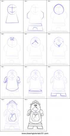 How to Draw Cogsworth from Beauty and the Beast step by step printable drawing sheet to print. Learn How to Draw Cogsworth from Beauty and the Beast Easy Disney Drawings, Disney Character Drawings, Disney Sketches, Cartoon Drawings, Easy Drawings, Beauty And The Beast Drawing, Disney Beauty And The Beast, Disney Drawing Tutorial, Disney Princess Tattoo