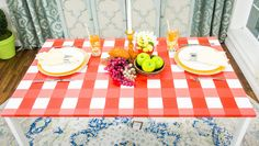This easy to paint DIY gingham picnic table can be used for any season! Who will you invite to your next picnic? Learn more DIY every day on Home & Family on Hallmark Channel! Home And Family Crafts, Home And Family Hallmark, Diy Dining Table, Cool Tables, Hallmark Channel, Spring Fever, Easy Paintings, Picnic Table, Diy Painting