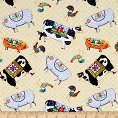 Jim Shore  Village Farm Animals Tan from @fabricdotcom  Designed by Jim Shore for Springs Creative, this cotton print fabric is perfect for quilting, apparel and home decor accents. Colors include beige, black, green, pink, purple, periwinkle, brown, yellow, grey, and white.