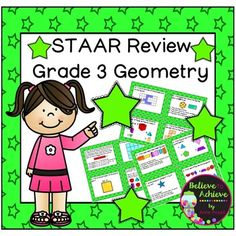 STAAR Grade 3-Geometry ReviewTEXAS teachers- This is a great set of 24 task cards to help your third graders  review Geometry for the STAAR test.TEACHERS anywhere- This is a great set of task cards to review geometry with your third graders, high achieving second graders, or fourth graders who could use some review.This set is a wonderful addition to your lessons!