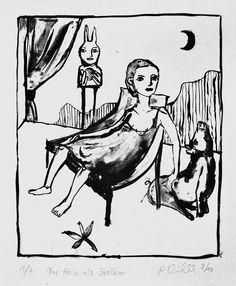 Petra Wildenhahn   Der Hase als Stalker   26,9 x 21,5 cm   Lithographie   Papiergröße 42 x 20 cm   2010   Auflage 7   signiert