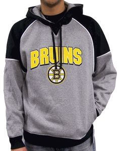 Boston Bruins -- Boston Bruins Grey and Black Hoodie: This stylish Boston Bruins hooded sweatshirt is pure Bruins.  Look cool and keep warm at the rink in a NHL hoodie in grey with black accents #hockey